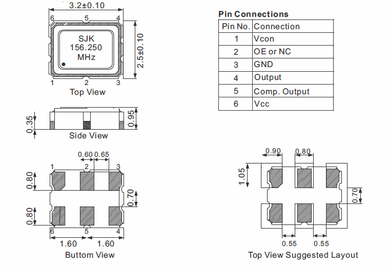 LVPECL-smd-3225-vcxo-dimensions