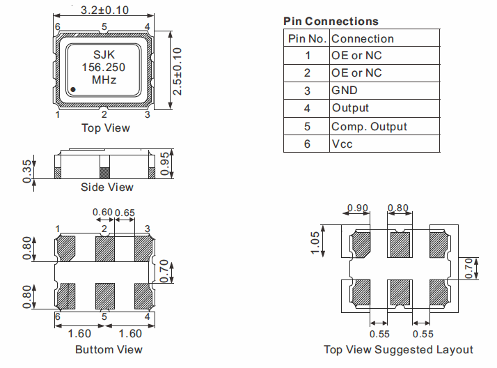 LVPECL-SMD-3225-Oscillator-Dimensions