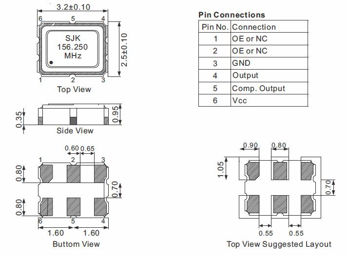 HCSL-SMD-3225-Oscillator-Dimensions