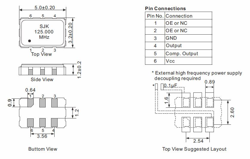 HCSL-SMD-5032-Crystal-Oscillator-Dimensions