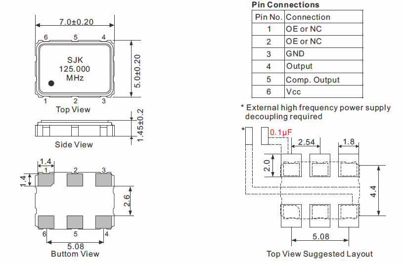 LVPECL-SMD-7050-Oscillator-Dimensions