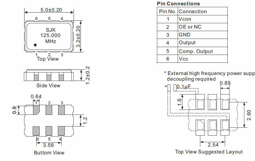LVPECL-SMD-5032-VCXO-Dimensions