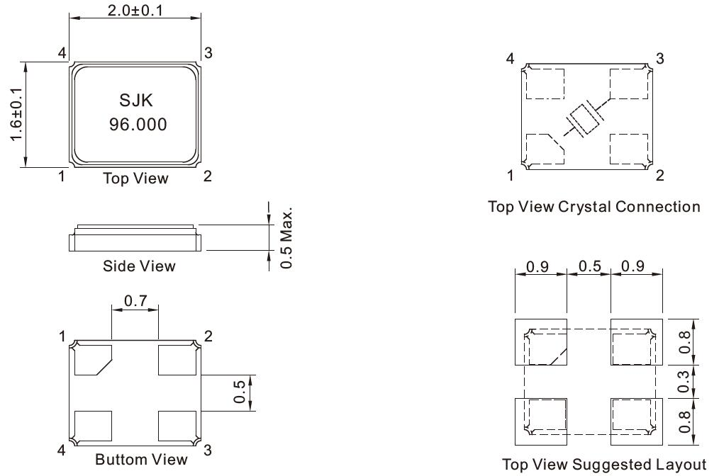 SMD-2016-Crystal-Resonator-Dimensions